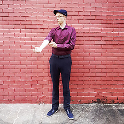 Scott This Guy Ah - G2000 Twill Shirt, Topman Pants, Louis Cuppers Shoes - Navy Ends