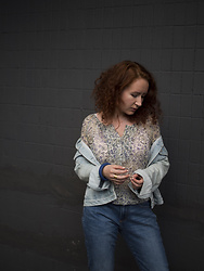Anna Okonishnikova - Gap Jeans, Pull & Bear Denim Jacket, Massimo Dutti Blouse - BORROWED FROM MY BROTHER