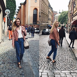 Dominika & Ola - Calvin Klein Bag, Pull & Bear Jeans, Birkenstock Sandals, Bershka Jacket, Mango Blouse - Rainy Stockholm Day