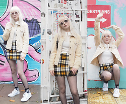JoJo Pearson - Pretty Little Thing Yellow Check Print Mini Skirt, Maude Studio Sunglasses, Deandri Collar Shirt, Primark Minni Mouse Trainers - No One Stays The Same, You Know What Goes Up Must Come Down