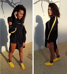 Yara Snow'z - Zara Black Jacket, Bershka Yellow Sneakers - Fishnet Socks&Yellow
