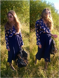 Alla Dolzhenko - Round Rames, Silk Pajamas Shirt With Bear, Hand Made Ultraviolet Velvet Midi Skirt, Sinsay Backpack, H&M Gold Kiten Heels Shoes - Dont folow me,Autumn!