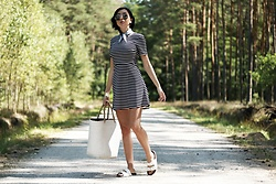 Ewa Macherowska - H&M Dress, Nn Slides, Nn Straw Bag, Second Hand Scarf, Nn Sunglasses, Nn Jewellery - Striped Dress