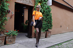 Sabina B - Zara Vibrant Orange Tshirt, Zara Septum Detail Glittery Skirt, Alicante Pointy Ballerinas, Zara Chain Detail Shoulder Bag - Piercing details