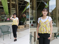 Bethery Yang - Yellow Tank, Zara Black Trousers, Black Heeled Mules - Golden Day