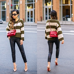 Sasa Zoe - Pull Over, Earrings, Pants, Heels, Bag, Sunglasses - DISTRESSED AND STRIPED