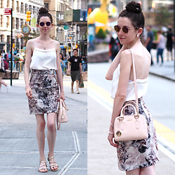 Claire H - Mango Camisole, H&M Skirt, Furla Bag, Guess Sunglasses - NYC FashionWeek