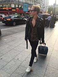 Peter Jones - Allsaints Leopard Print Shirt, Zara Leather Jacket, Saint Laurent Trainers - Paris ??