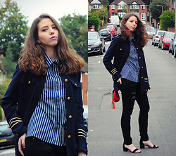 Ana Mª Aranda - Stradivarius Navy Jacket, Rosegal Striped Shirt, Stradivarius Jeans, Primark Shoes, Yoins Bag - Navy jacket, new love