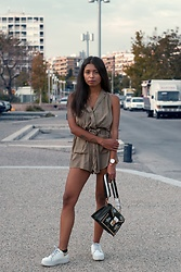 Konstantina Antoniadou - Dorothy Perkins Embroidered Bag, Daniel Wellington Watch, Daniel Wellington Bangle, Tommy Hilfiger Sneakers, Asos Olive Romper Similar, Nordstrom Olive Romper Similar 2 - A/W 17 trends I am currently in love with