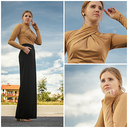 Sabina Smolnikar - H&M Bodysuit, Lesema Earrings, Freywille Ring, Liujo Pants, Mango Midi Heels - Face Your Fashion Fears!
