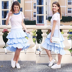 Heidi Landford - Seed Heritage Ruffles Skirt, Aje Top, Superga Sneakers, Kate Spade Bag - Ruffles and Sneakers