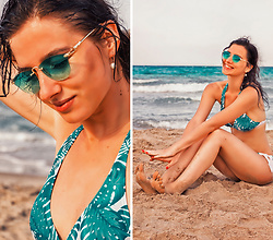Natasha Karpova - Ostin Tropical Bikini, No Brand Green Sunglasses - LA PLAYA