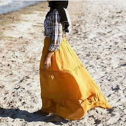 Arus Ssah - Zara Mustard Maxi, Target Little Boys Multi Colored Shirt, Birkenstock Shoes - Modest beach look