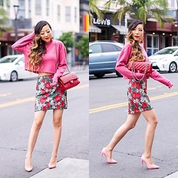 Sasa Zoe - Less Than $40 Sweatshirt, Skirt, 40% Off Earrings, Heels, Bag - ROSE BLOSSOM