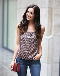 Marie's Bazaar - Shopbop Silk Tank Top, Coach Crossbody Bag, Paige Denim Skinny Jeans - In between summer and fall