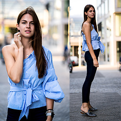 Jacky - Missguided Shirt, Lee Jeans - Striped one-shoulder Shirt