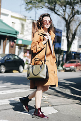 Silvia Henz - Grey Sweatdress Basic, Prada Saffiano Militaire By, Dr. Martens Wine Flat Boots Dr, Beige Rain Coat -  Autumn colors