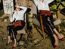 Andreea Birsan - Patent Pants, Red Velvet Kitten Heel Slingbacks, Fishnet Socks, Red Lace Metropolis Bag, White Frilled Button Down Shirt - Patent pants