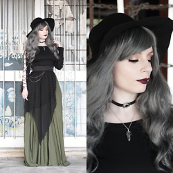 Federica D - Romwe Black Hat, Romwe Long Pleated Green Skirt, Romwe Eyelet Lace Up Tee - Hello Autumn