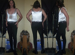 Hot One - Hot Topic Black Jeggings (Tight Fitting Jeans), Thrifted Silver Stretchy Nylon Leo, Metal Chain Belt, Black Leather Shoes - Weathering a September Storm!!