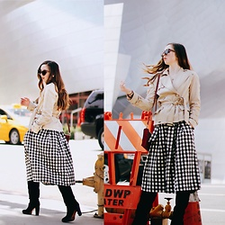 The Indie Girl Fleming - Chicwish Gingham Midi Skirt, Classic Trench Coat - Gingham Girl With Chicwish