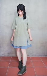 Flosmoony - Dottorivintage Green Shirt, Dottori Vintage Blue Skirt, Green Boots - Girly