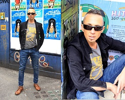 Trzy Hoo - Diesel Star Transport Graphic Tee, Levi's® 520 Acid Wash Tapered Jeans, Levi's® Black Slim Trucker Jacket, Levi's® Baldwin Derby Lace Boots, Diesel Sunglasses - Diesel fueled Star Transport