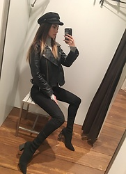STARRRGASM ⚡️ - Asos Rebel Rose Leather Jacket, Levi's® Super Skinny Black Jeans, Zara Knit Cropped Boots, Asos Baker Boy Cap - All black