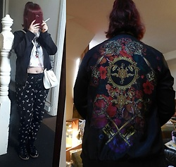 April Willis - Damned Delux Folk Floral Bomber Jacket, H&M Power To The Girls Crop Top, Ebay Sailor Moon Cat Bag, George Cross Trousers, Deichmann Black Lace Up Shoes - Patterns