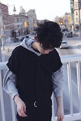 Samuel Oh - American Apparel Black Baseball Knit, American Apparel Grey Batwing Hoodie - BASEBALL