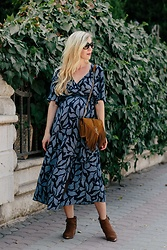 Meagan Brandon - Floral Midi Dress, Similar Saint Laurent Bag, Marc Fisher Booties - Floral Dress & Booties for Fall