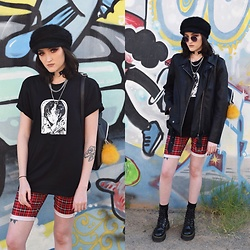 Kaicee Clare - Dr. Martens Jadon, Dotti Biker Jacket, Cheep Animé Shirt, Cheep Baker's Boy Hat - Be You