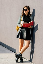 Caterina Rățoi - Reserved Coat, H&M Leather Skirt, Reserved Boots - Back to school