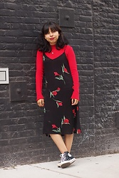 Brisa Gomez - Forever 21 Slip Dress, Converse, H&M Long Sleeve - Everything Was Red