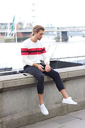 Henry & William Wade - Zara Stripe Jumper, Zara Trousers, Common Projects White Trainers - Fashion Week style