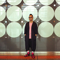 Mannix Lo - H&M Long Outer, H&M Tee, Global Works Outdoor Sandals - Circles Tuesday