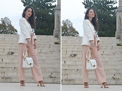 Jelena Dimić - Shein White Blazer, Shein Slip Dress Worn As A Top, Shein Blush Trousers, Cocopat Una Handbag, Pinkbasis Rose Gold Sandals, H&M Watch - The best things are easy to destroy