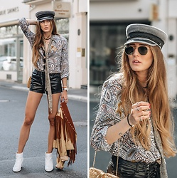 Lisa Fiege - Eterna Paisley Blouse, Forever 21 Lace Up Shorts, Vintage Fringe Leather Jacket - PAISLEY BABY | IG @THELFASHION
