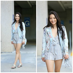 Kimberly Kong - Blank Nyc Embellished Jacket, Asos Striped Romper - Adorable Rompers That Transition Beautifully to Fall