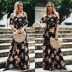 Maria De La Cruz - Haute & Rebellious Bamboo Bag, Haute & Rebellious Winter Floral Dress - How To Wear a Floral Dress to Transition From Summer to Fall