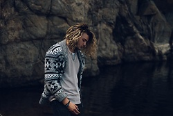 Caleb Paulson - Urban Outfitters Cardigan, Urban Pipeline Tan Longsleeve, Hanes White T, American Eagle Outfitters Black Distressed Jeans - Mountain water