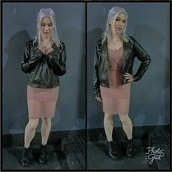 Lyndee M. - Forever 21 Black Moto Jacket, Forever 21 Mauve Slip Dress, London Rebel Black Platform Booties, A Brand New Day Mauve Fingerless Gloves - Dance Dance
