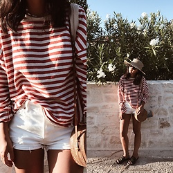 Tiffany Wang - Zara Shirt, Levi's® Shorts, Urban Outfitters Slides, Lack Of Color Hat - RED STRIPES