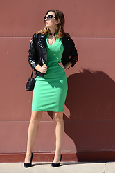 Elisabeth Green - Zaful Leather Jacket, Fashionmia Green Dress - Green and Leather