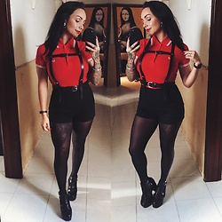Priska Gomez - Fred Perry Red Polo, Stradivarius Black Harness, H&M Black High Waist Shorts, Loudlook Tonia Sandals - Raise Hell