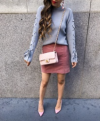 Sasa Zoe - Lace Up Sweater, Skirt, Heels, Bag, Earrings - PASTEL FALL