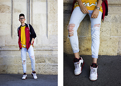 Luka Lajic - Bershka Jeans, Adidas Track Jacket, Lotto T Shirt, Air Jordan Sneakers - Retro Color Blocking