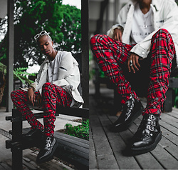 Dominic Grizzelle - Urban Outfitters Plaid Pants, T.U.K. Footwear 3 Strap Buckle Boot, Urban Outfitters Bdg Denim Jacket - FALL FAVORITES