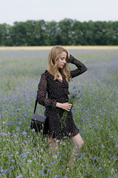 Martyna Piotrowska - H&M Polka Dot Dress, Vintage Leather Bag - CORNFLOWERS | POLKA DOT DRESS
